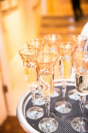 Elegant Gold Leaf Champagne Glasses