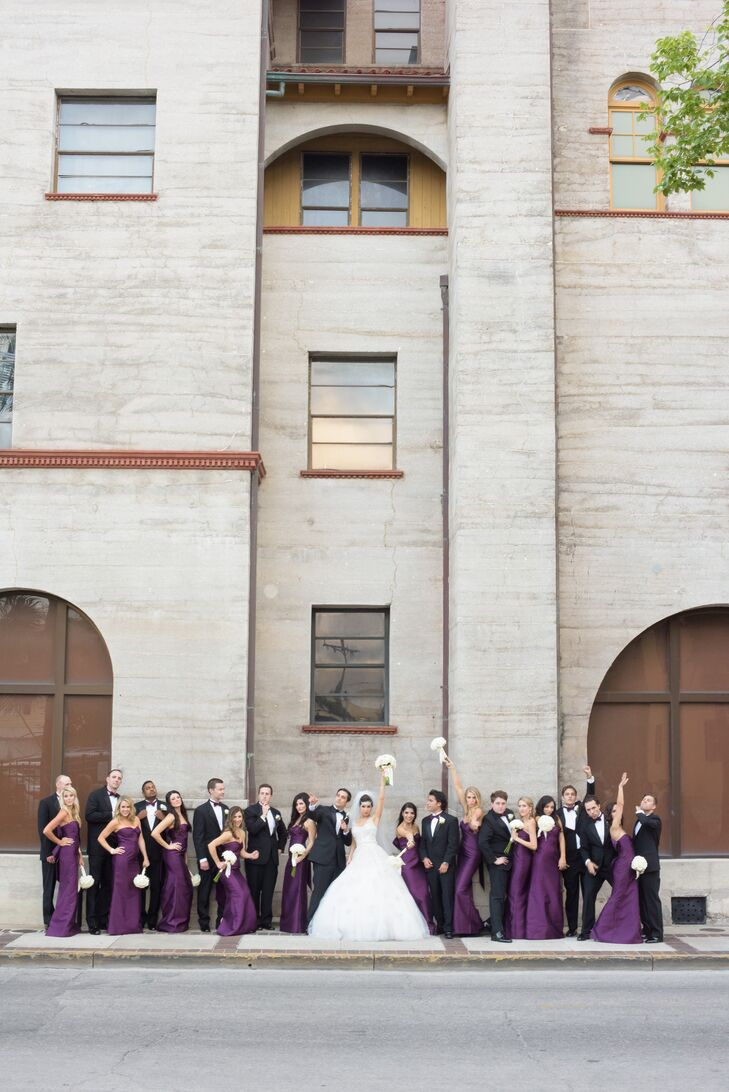 Purple Strapless Bridesmaid Dresses