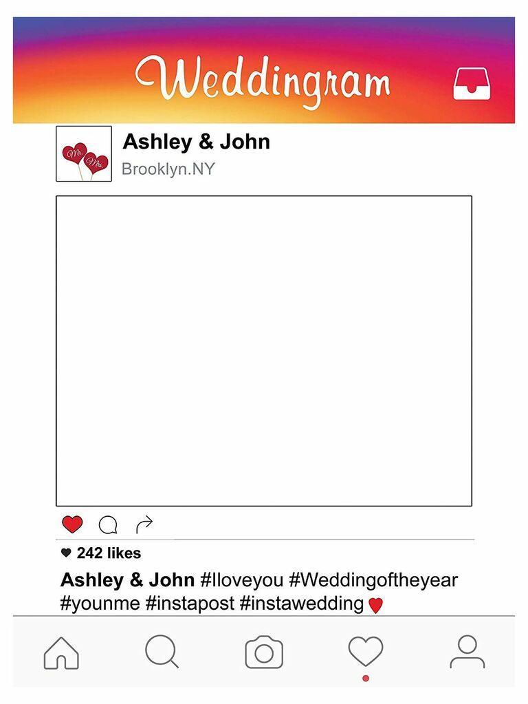 Instagram frame wedding photo booth prop