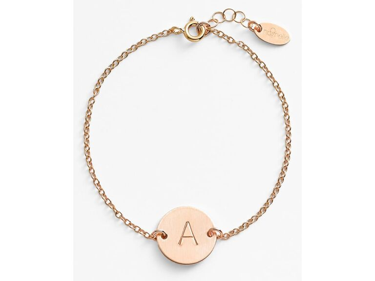 Gold bracelet with initial on disc