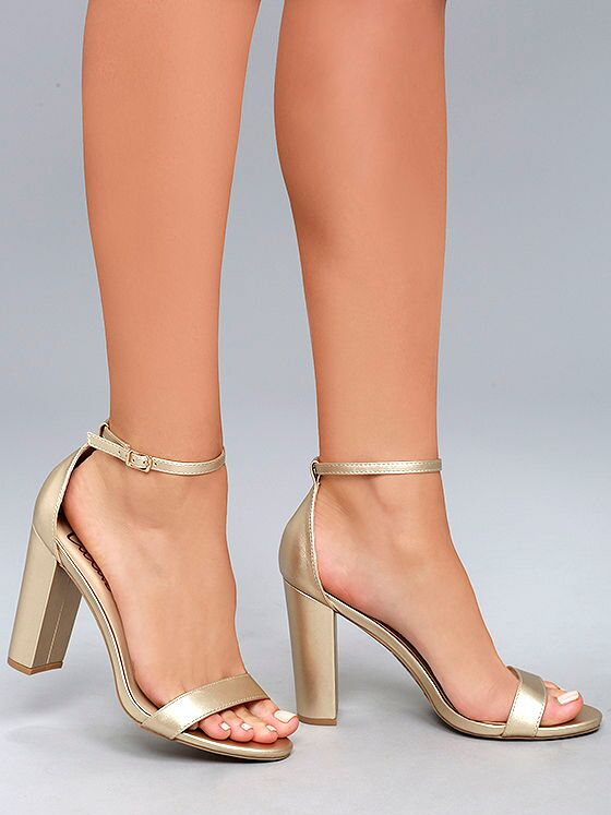 Lulus Taylor gold ankle strap heels