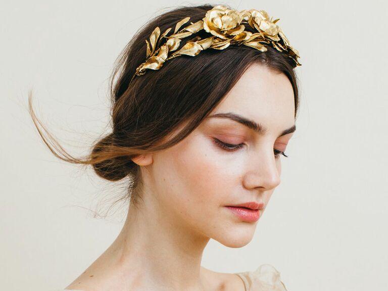 Gold metal flower crown by Jennifer Behr