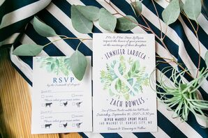 Modern Preppy Invitation with Greenery Illustration