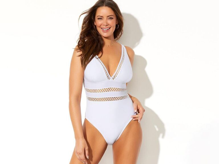 White cutout crochet detail swimsuit