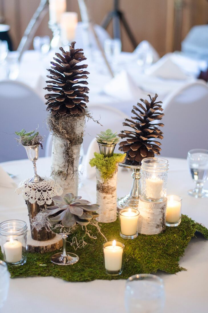 Natural Pinecone and Candle Centerpieces