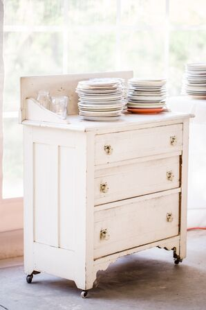 Mismatched Vintage Plates and Dresser