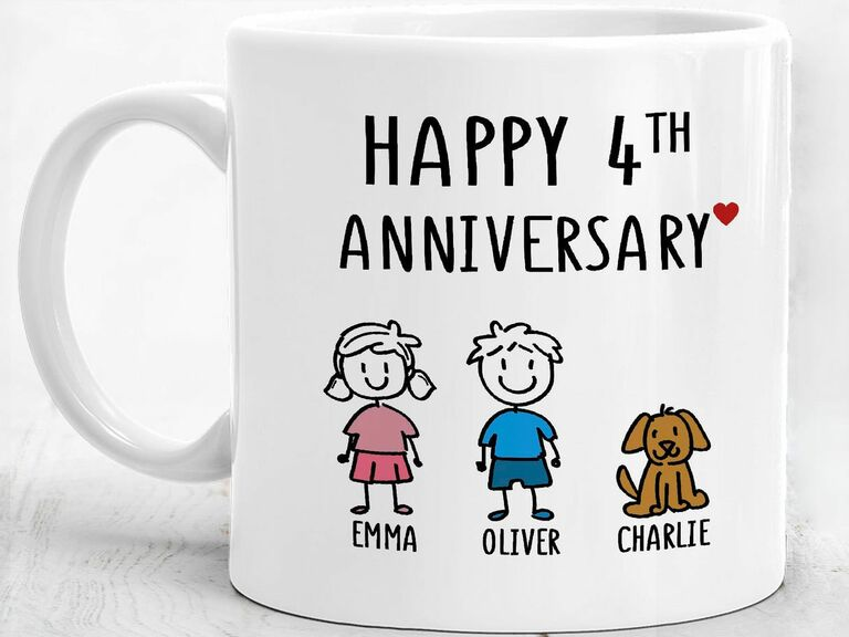 personalized mug for 4th anniversary