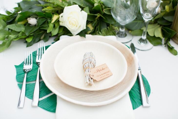 Monstera Place Mats and Sage Place Cards