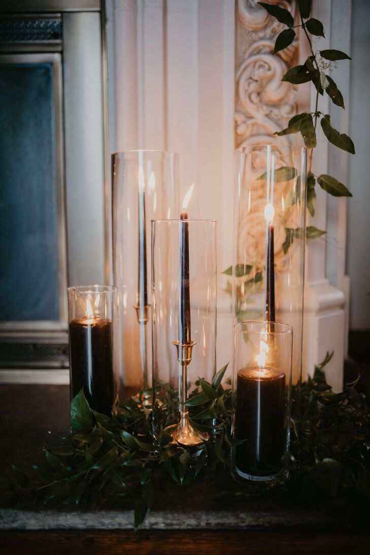 Black Candles in Glass Vases