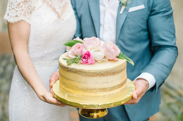 Partially Naked, Gold-Airbrushed Wedding Cake