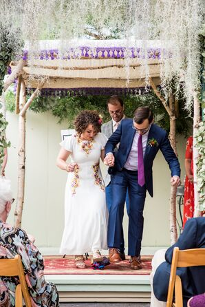 Breaking the Glass Under a Colorful Chuppah