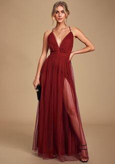 Lulus Rare Beauty Burgundy Backless Maxi Dress V-Neck Bridesmaid Dress