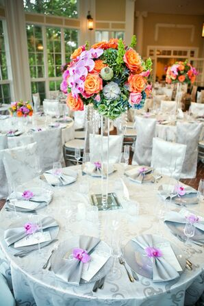 Tall Orange, Pink and Green Centerpiece