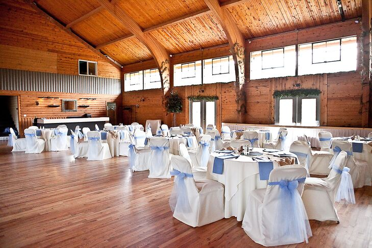 Not wanting to compete with their beautiful, rustic reception venue, the couple kept their reception decor to a minimum.