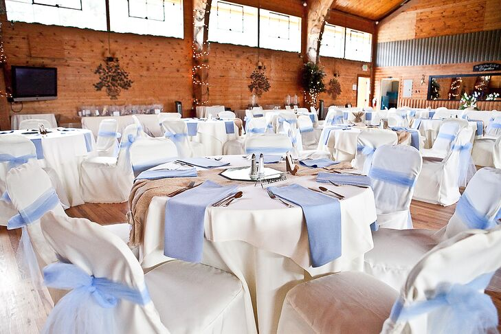 Pale Blue and White Table Linens at Pinecrest Events Center