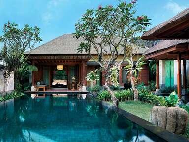 A private pool area at Mandapa