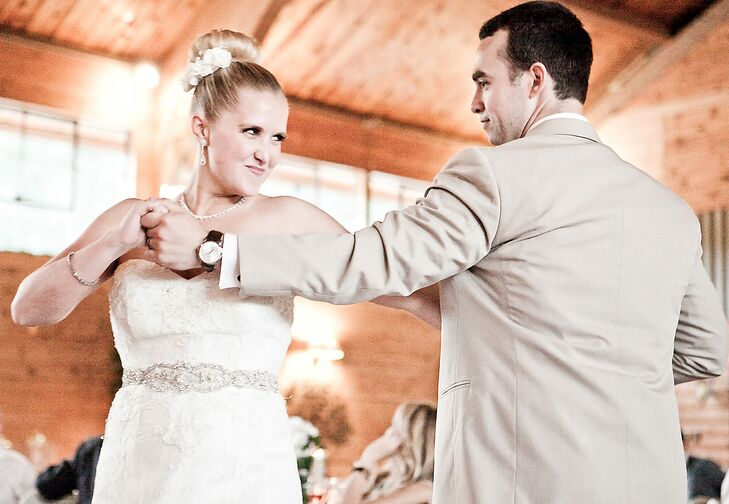"""Instead of a traditional slow dance, Kirsten and Garrett two-stepped to """"I Want Crazy"""" by Hunter Hayes."""