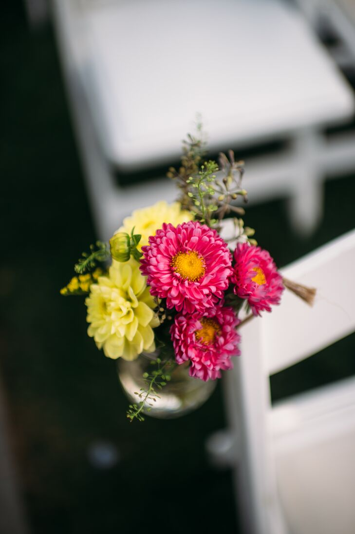 Red and Yellow Zinnia Aisle Chair Decor