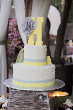 Two-Tier Yellow, Gray and White Wedding Cake