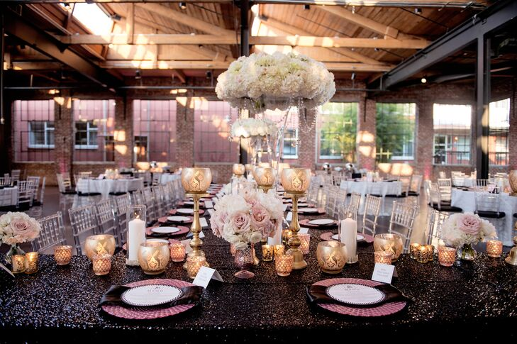Romantic Candle Centerpieces and Black Sequin Linens