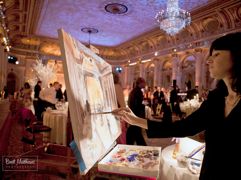 Live painter at a wedding