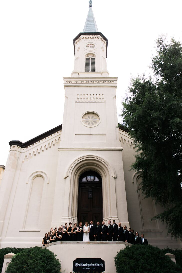 """Having their wedding in a church was a must for Ginnie and Tyler, which is why they hosted their entire wedding day at First Presbyterian Church in Macon, Georgia. """"We chose this specific church because of its sentimental value, but also because of the rich history and gorgeous interior,"""" Ginnie says."""