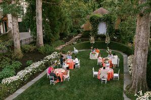 Socially-Distanced Tables at Backyard Reception in Atlanta, Georgia