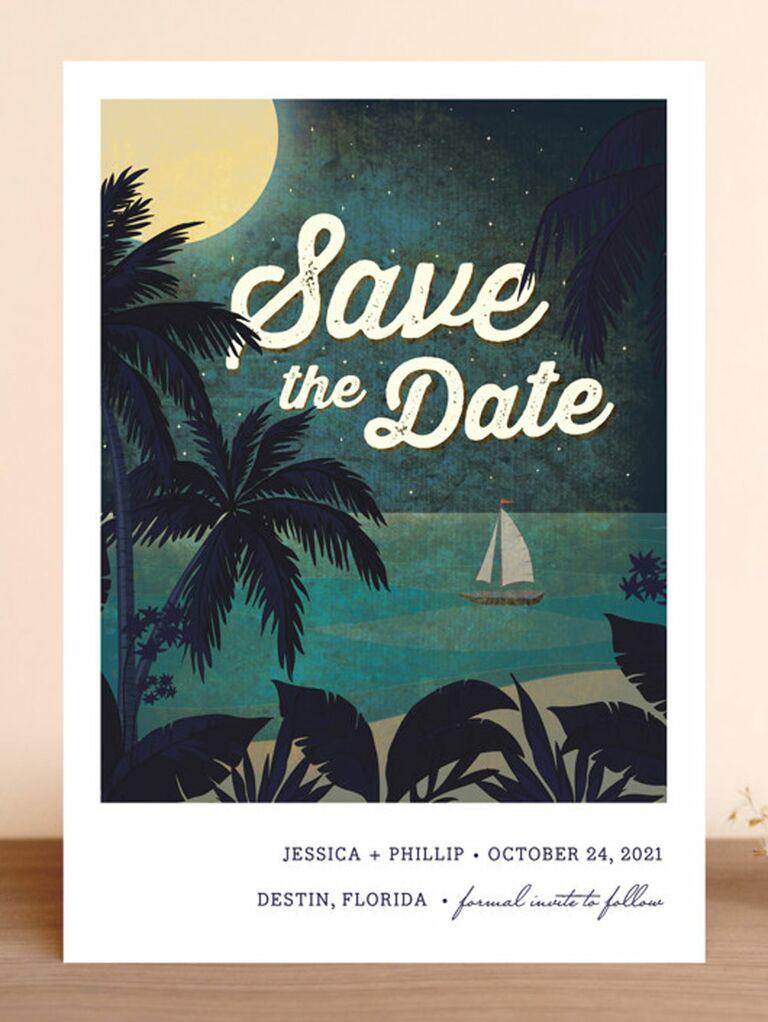 beach destination wedding save the date