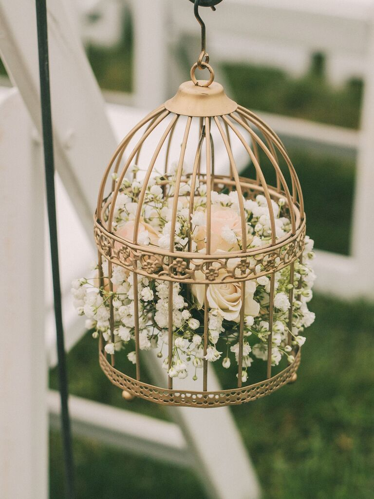 Gold Birdcages With Roses and Baby's Breath ceremony aisle decor