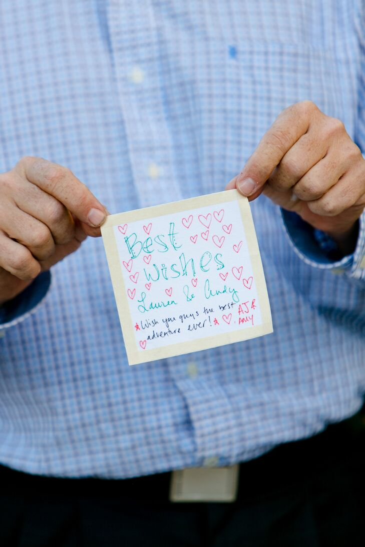 This was no ordinary guest book. Rather than asking guests leaving notes on a poster, card or page, friends and family members signed a fabric square that would eventually be sewn into a quilt.