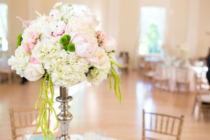 Pink Peonies and White Hydrangea Centerpieces