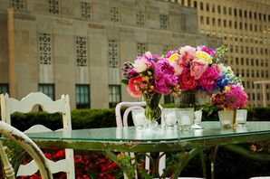 Bright Pink Roses and Peonies Centerpieces