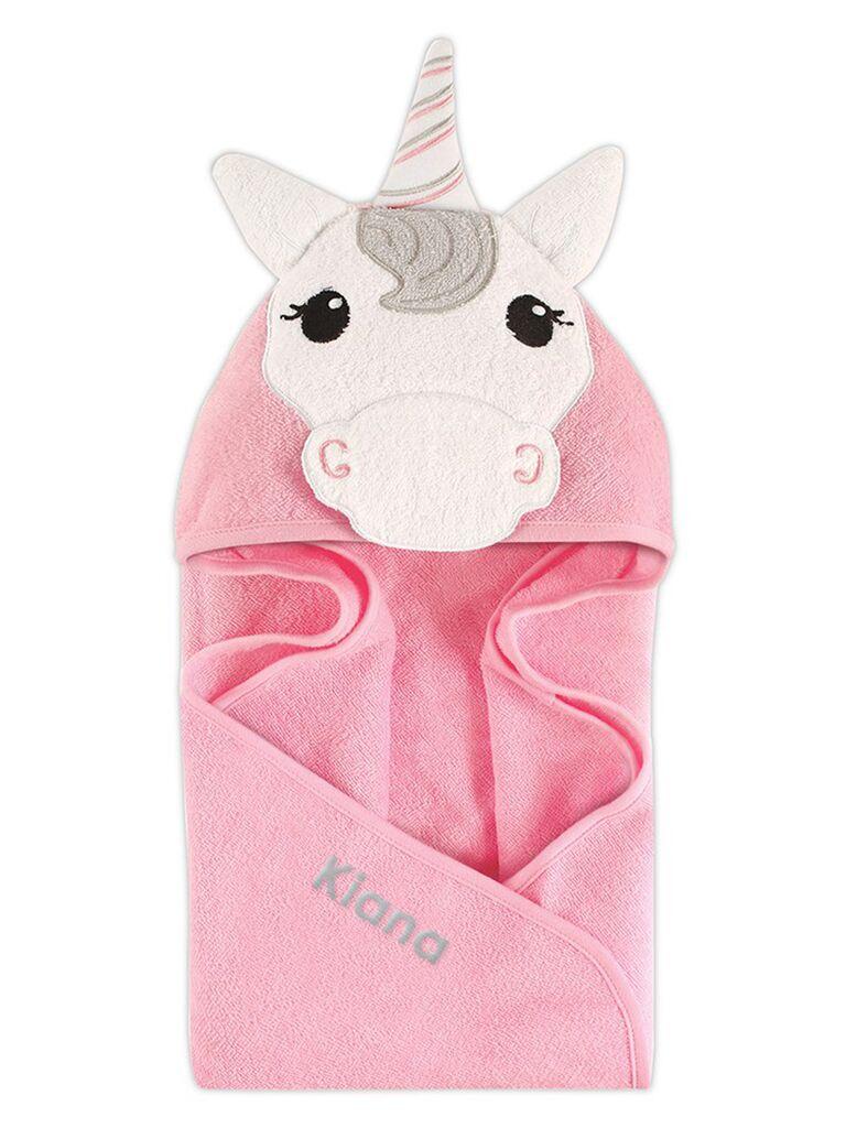 Pink unicorn towel flower girl gift