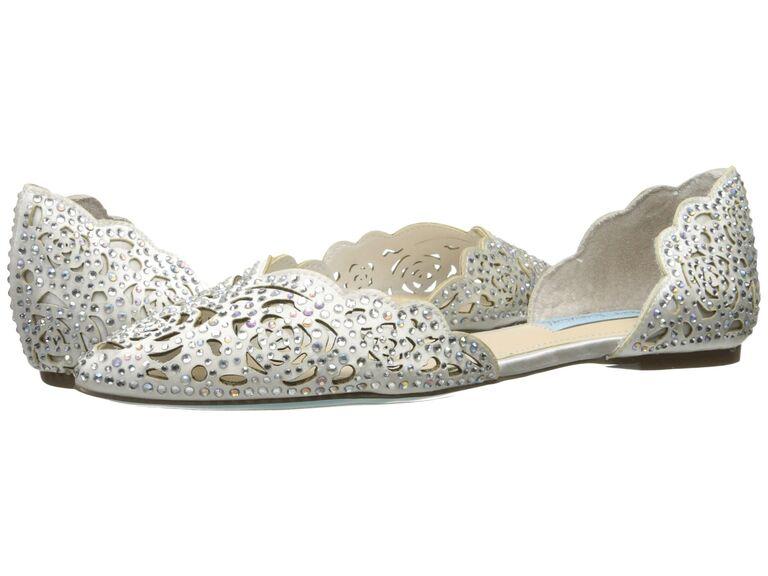 Sparkly flat beach wedding shoes