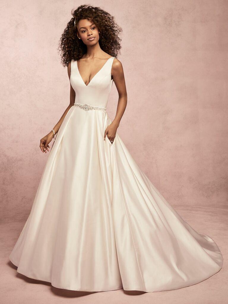 Rebecca Ingram Spring 2019 sleeveless satin wedding dress with pockets