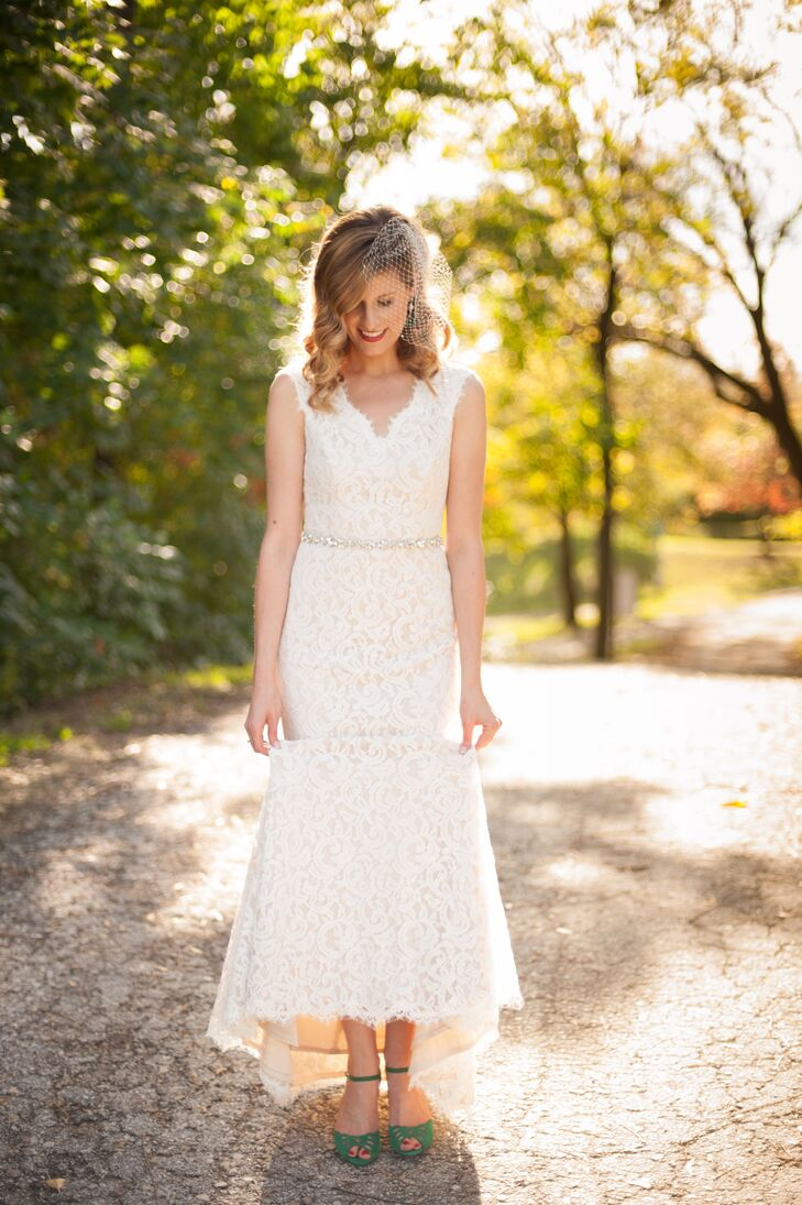 Ivory Lace Wedding Dress And Green Shoes