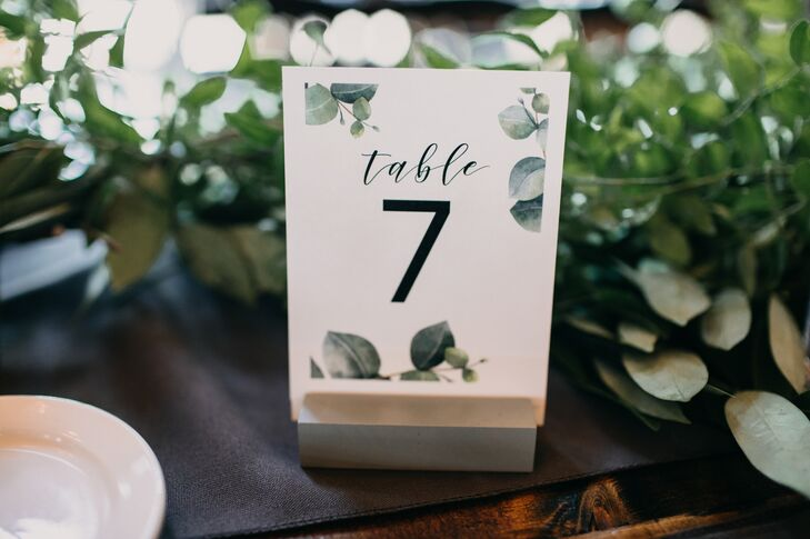 Table Numbers with Greenery Print