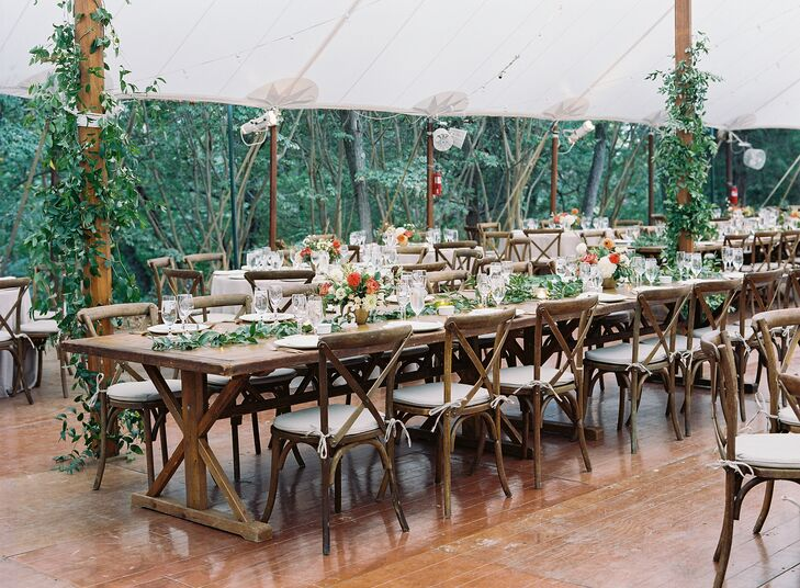 Farm Tables and Cross-Back Chairs for Tented Reception