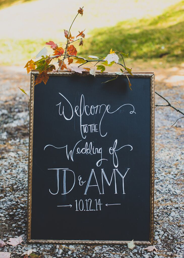 Wedding Welcome Sign on Black Chalkboard