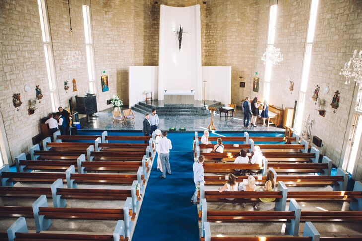 """""""I wanted to marry in a church,"""" Rachel says. """"So we chose the church we'd been attending in Cyprus at Episkopi Station and asked our Padre if he would marry us."""""""