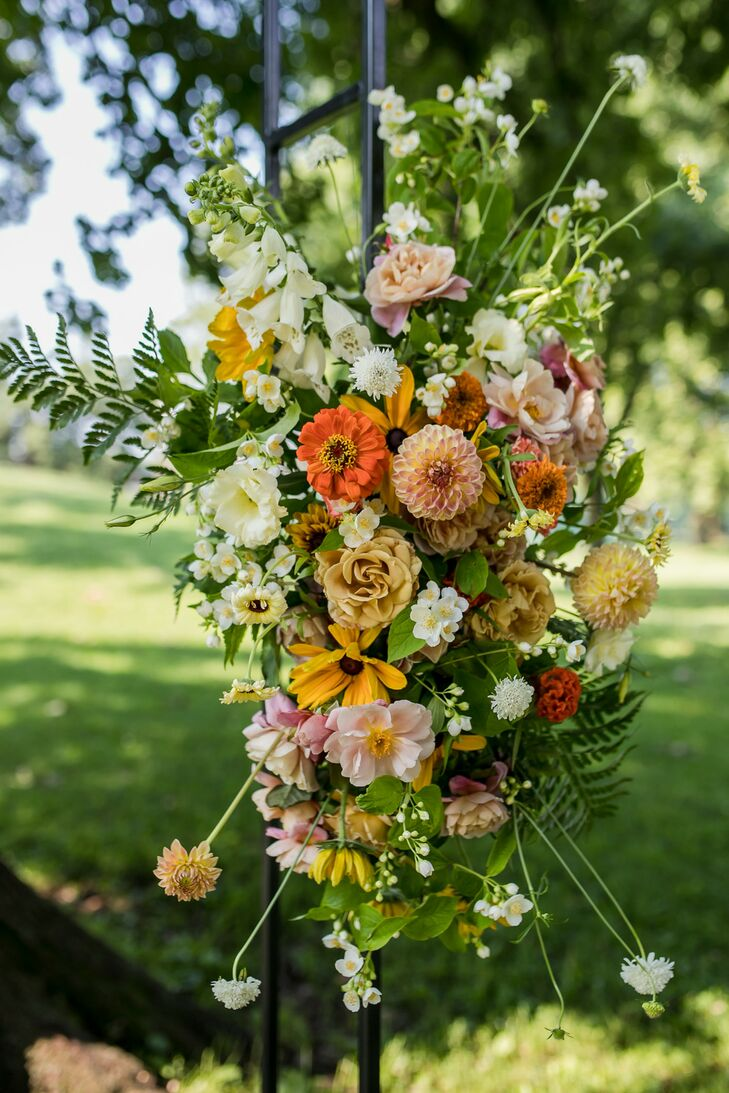Romantic Flower Arrangement of Foxgloves, Dahlias, Roses and Zinnias