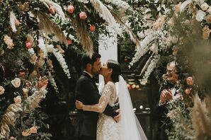 Romantic Couple with Roses, Pampas Grass and Delphiniums