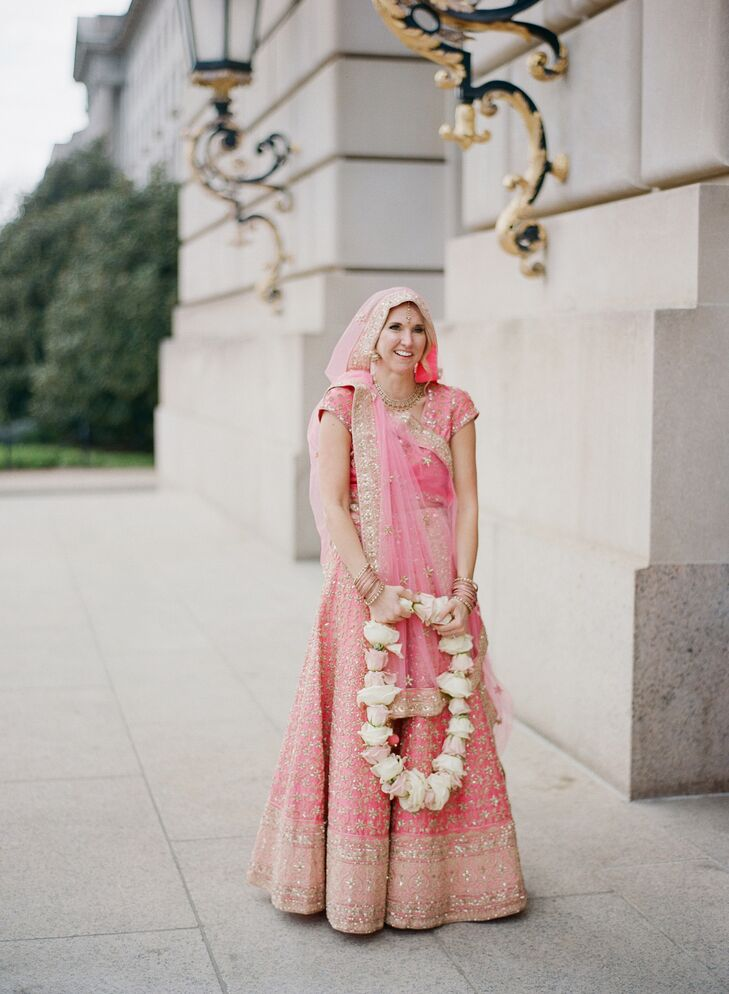 Bride in Pink Indian Lehenga Before Hindu Ceremony