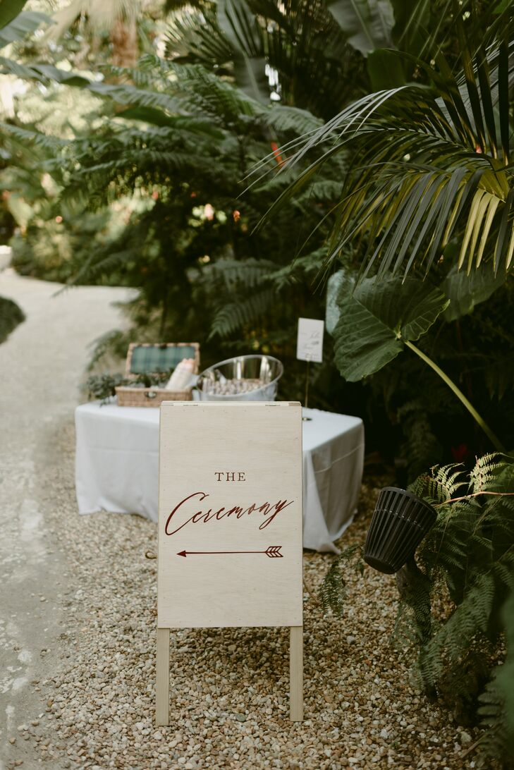 Wood Easel Ceremony Sign with Calligraphy