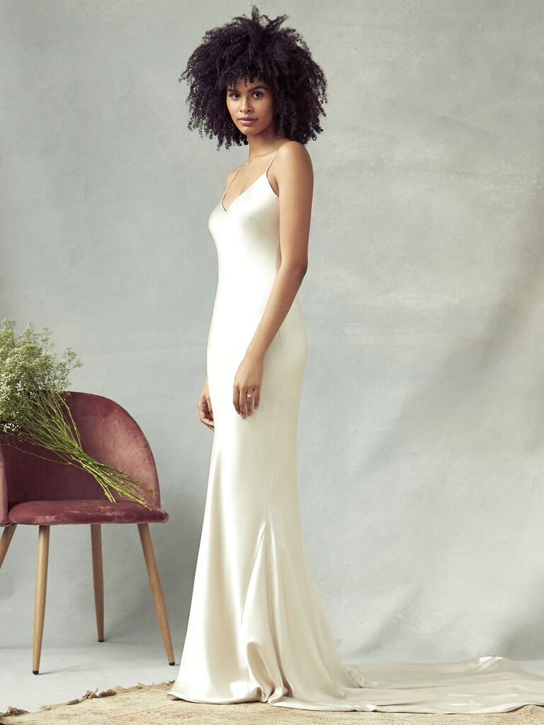 Savannah Miller Spring 2020 Bridal Collection sheath spaghetti-strap wedding dress