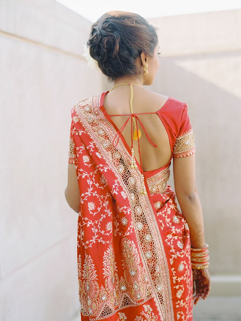Bride in red and gold wedding sari