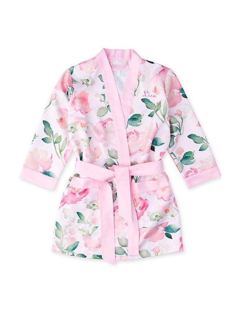 Flower girl pink satin robe