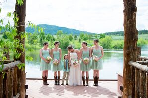 Knee-Length Mint Green Bridesmaid Dresses