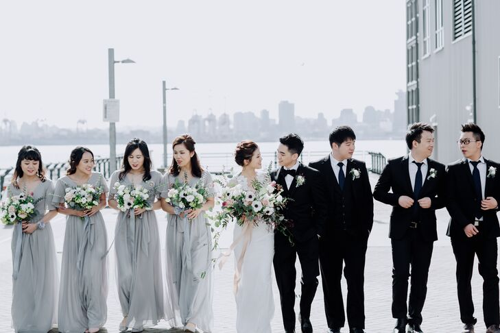 Pale Gray Bridesmaid Dresses with Flutter Sleeves and Tie Waist