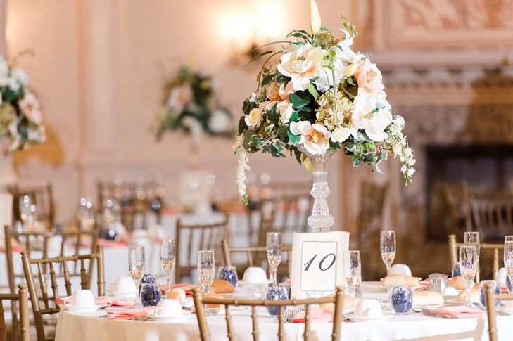 Tall Crystal Centerpieces with Orchids and Hydrangeas
